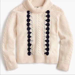 J Crew Embellished Cable Knit Sweater